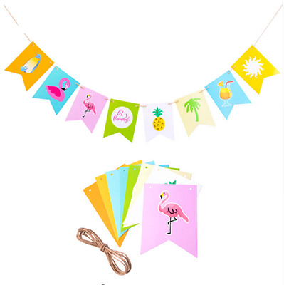 1Set Flamingo Paper Banner Hawaii Tropical Party Decoration Pineapple Beach Flag