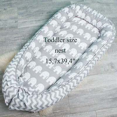 Toddler size nest with Removable cover, co sleeper, crib, cot, snuggle baby nest