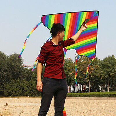 Huge Rainbow Kite For Kids - For Outdoor Games Activities, Summer Fun, Kids Gift