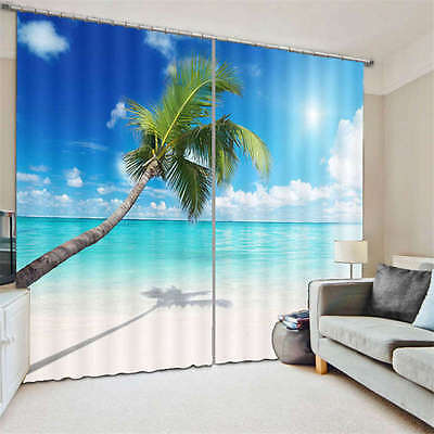 Cocount OnThe Nice Beach 3D Curtain Blockout Photo Print Curtains Fabric Window