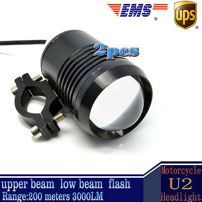 Two 30W Motorcycle CREE U2 LED Driving Headlight Fog Lamp Spot Light For BMW