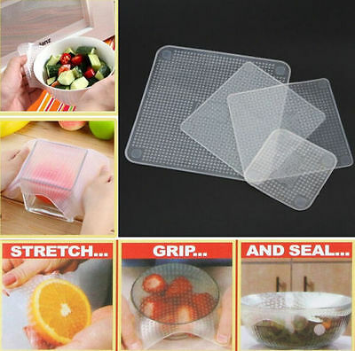 Hot 4 Pcs Reusable Silicone Food Bowl Covers Wrap Keep Food Stretch and Fresh R