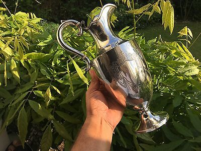 ANTIQUE EDWARDIAN SOLID SILVER WINE CARAFFE EWER. 1906. 603 gms.