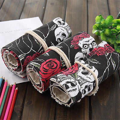 36/48/72 Holes Roll up Pencil Case Bag Holder Storage Pouch Stationery Pocket