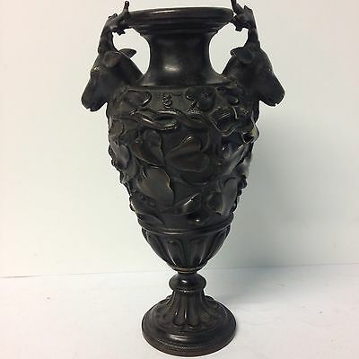 Antique Bronze Vase With Deer Heads And Ivy Leaf Decoration Grand Tour Style