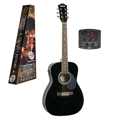 REDDING ¾ size Electric Acoustic Guitar, Spruce Top, free lessons, RED34EBK, Blk