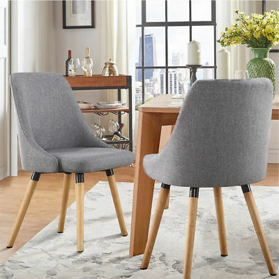 2X Fabric Dining Chairs Kitchen Cafe Padded Wooden Legs Modern Retro Upholstered