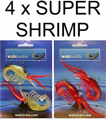 4 x QUALITY NEW SUPER SHRIMP LURES - SEA FISHING TACKLE  - COD BASS PIKE BAIT