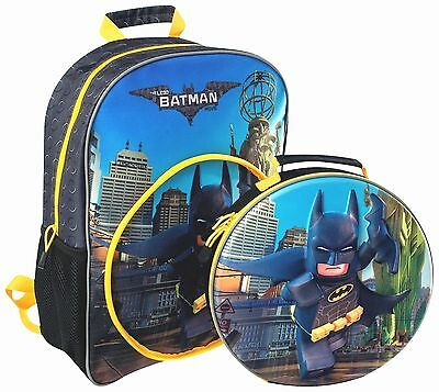 Official Batman Lego Movie Boys 3D Large Backpack With Detachable Lunch Bag New