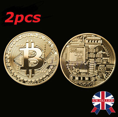 2PCS Rare Bitcoin Collectible gift In Stock Golden Iron Commemorative Coin Gifts