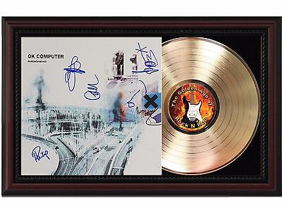 Radiohead 24k Gold LP Record With Reproduced Autographs In Cherry Wood Frame
