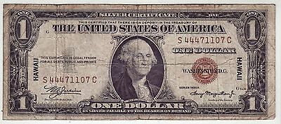 1935A WWII HAWAII Emergency Issue $1 Silver Certificate Note(1107)
