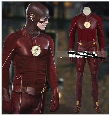 Costume Flash seson 2 replica,cosplay,Barry Allen,Red,Eco pelle,all size,S-3XL