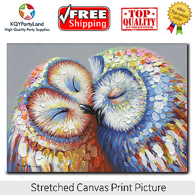 Stretched Canvas Print *Kissing Owl Couple* Painting Wall Art Home Decor Gift