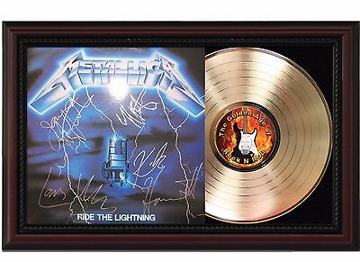 Metallica 24k Gold LP Record With Reproduced Autographs In Cherry Wood Frame