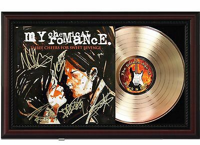 My Chemical Romance 24k Gold LP With Reproduced Autographs In Cherry Wood Frame