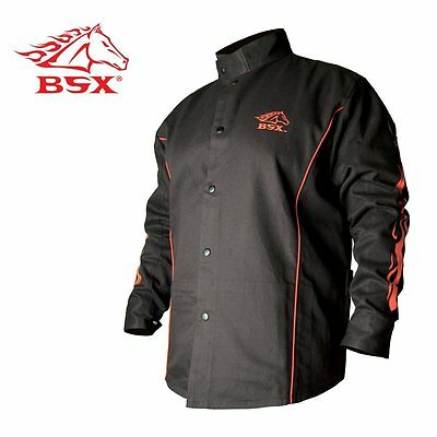 Black Stallion Bsx� Fr Welding Jacket  Black W/Red Flames  Medium