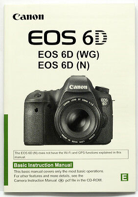 CANON EOS 6D INSTRUCTION genuine MANUAL guide ENGLISH only