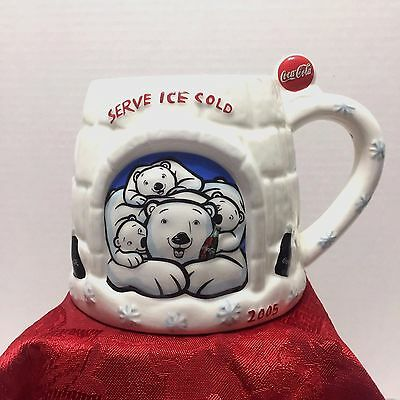Coca Cola Ceramic Mug Serve Ice Cold Polar Bear 2005 Collectible