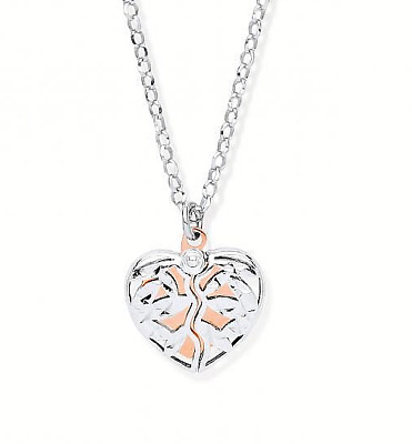 Rhodium Plated 925 Hallmarked Silver & 9Ct Rose Gold Plated Hidden Heart Pendant