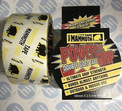 Everbuild Mammouth Powergrip Double sided Tape 50mm X 2. Mtr super strong