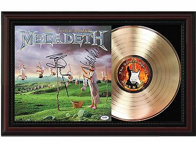 Megadeth 24k Gold LP Record With Reproduced Autographs In Cherry Wood Frame