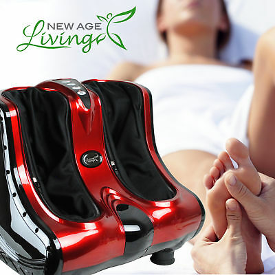Shiatsu Kneading Rolling Vibration Heating Foot Calf Ankle Leg Massager Red *