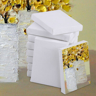 10pc 7x5cm Mini Artists Stretched White Canvas Art Board Acrylic Oil Paint Craft