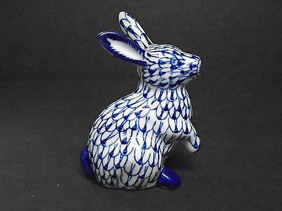"""Vintage Blue Hand Painted Rabbit Figurine 6"""" Tall Excellent Condition"""