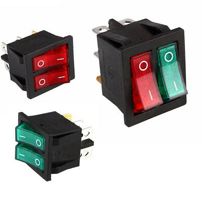 Double Mini Boat Rocker Switch 6 Pin On-Off Power Switch With Green Red Light