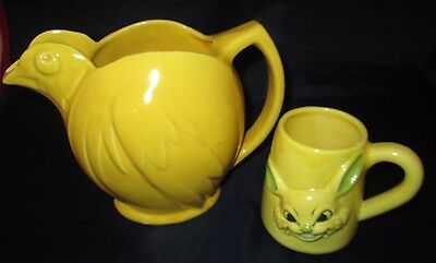 VTG Camark? HEN CHICKEN Pottery Yellow Pitcher Handle Mid-Century + BUNNY CUP