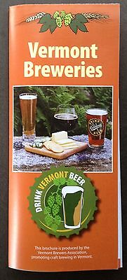 Vermont Craft Beer Breweries Foldout Brochure, Listings And Map Guide, 2017