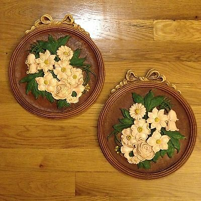 Pair of Vintage Chalkware/Plaster of Paris Plaques Floral Design Made in USA