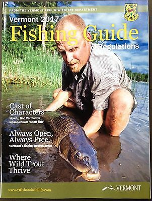 Vermont 2017 Fishing Guide & Regulations Magazine, 96 Pages. Maps, Licenses Fees