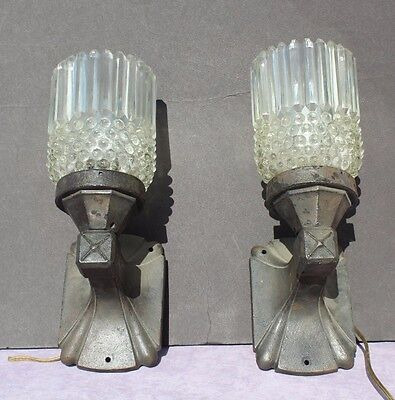 2 Vtg Antique 1920s -1930s Art Deco Industrial Cast Iron Glass Shade Wall Sconce