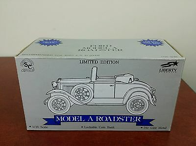 Texaco bank model a roadster toy collectable diecast red Liberty lockable 1/25