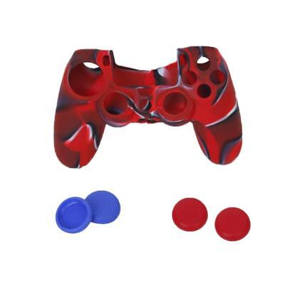 Custodia in gomma di silicone + 4pcs JoyStick Caps per Sony PS4 Controller