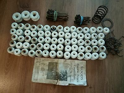 Vintage Wood's Electric Fence Parts Made in USA porcelain Insulator and Nails
