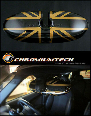 MINI Cooper/S/ONE R52 R55 R56 R57 R60 R61 GOLD Union Jack Rear View MIRROR Cover