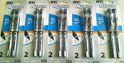 New Look! Inc R-2 Comfort-Grip Rollerball Pens 0.7mm BLACK Ink, 5 Packs of 2