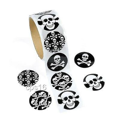 24 Pirate Skull Stickers   Party Favors    Party Supplies   Halloween   Craft