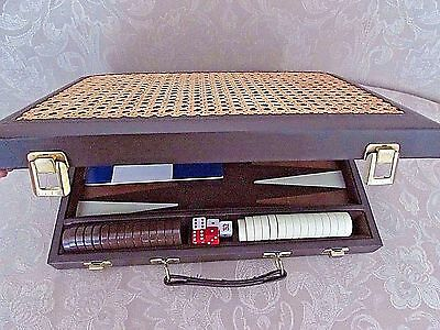 "Vintage Backgammon Set Dark Brown with Wicker Top and Bottom 16"" BEAUTIFUL"