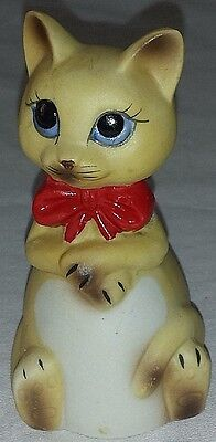 Collectible Vintage Ceramic Hand Painted Kitty Cat Figurine Bell