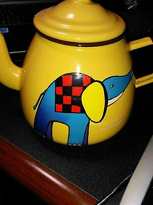 Smaltum Prague Praha Enamel Earthenware Elephant Tea Pot