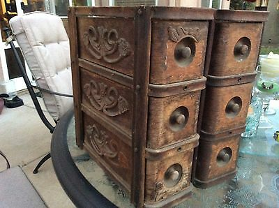Vintage treadle sewing machine drawers (2 sets of 3 drawers each) ornate