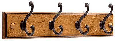 Hook Rack Holder Wall Mount 4 Metal Hooks Wood Coat Hat Hanger Bag Key Organizer