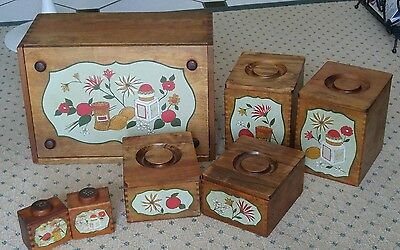 Vintage Wooden Bread Box and Canister Set with Matching  Salt &  Peper Shaker