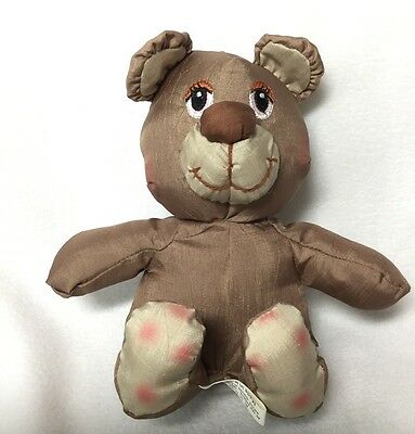 Potpourri Press Tan Brown Nylon Plush Stuffed Teddy Bear Vintage 1988 6""