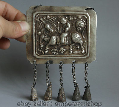 "5"" Old Chinese dynasty palace Miao Silver necklace brand official ride Kylin"