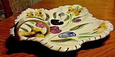 Handled China Leaf Dish~Easter Parade Pattern~ Blue Ridge Southern Potteries!